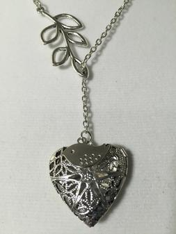 SILVER PLATED HEART ESSENTIAL OIL DIFFUSER INFINITE NECKLACE