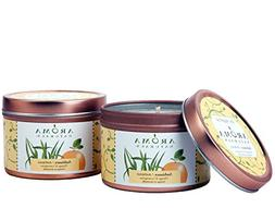 Aroma Naturals Tin Candle with Orange and Lemongrass Essenti