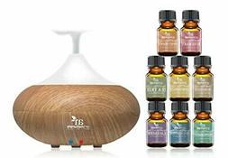 artnaturals Top 8 Essential Oils & Blonde Oil Diffuser Set