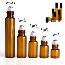 Travel Empty Essential Oil Bottle Amber Perfume Roller Ball