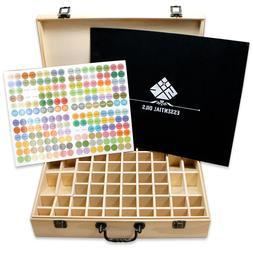SXC 68 Slots Essential Oil Wooden Box Storage Case With Hand